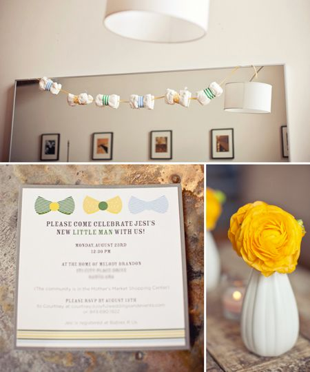 Vintage Bow Tie Themed Baby Shower ideas for boys hanging decoration