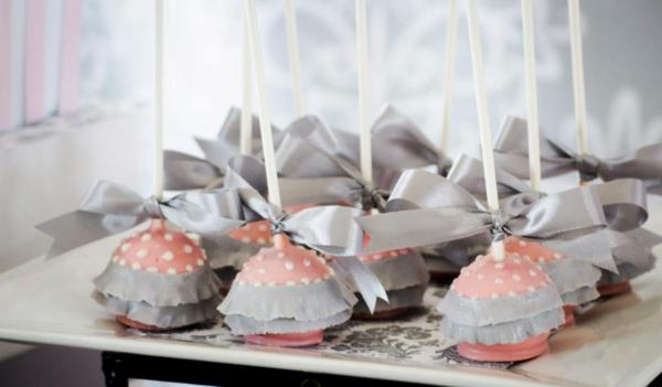 mini gray tutu cakepops with satin ribbon