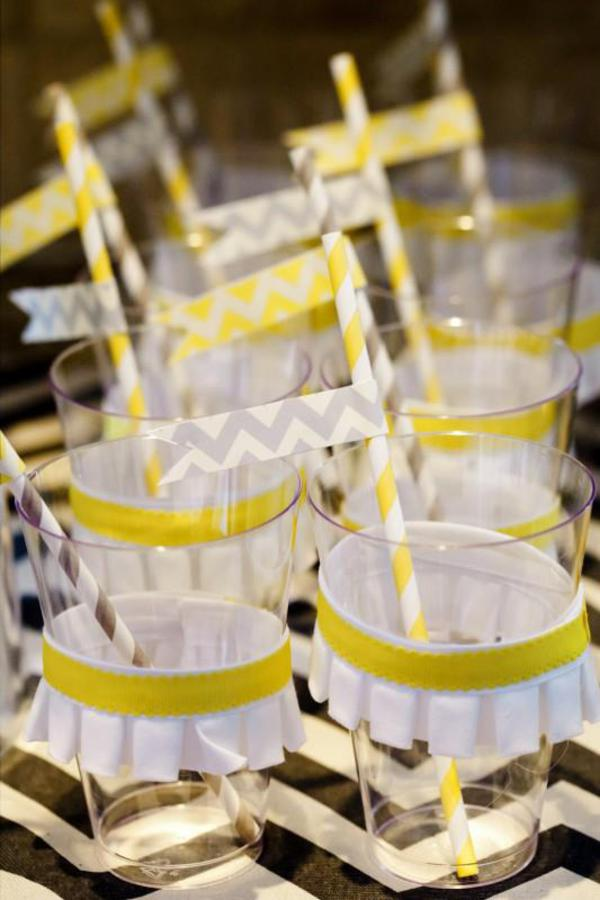 Chevron yellow and gray drinking straws