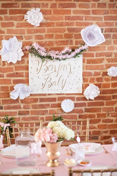 French inspired Sprinkle Baby Shower bonjour baby sign
