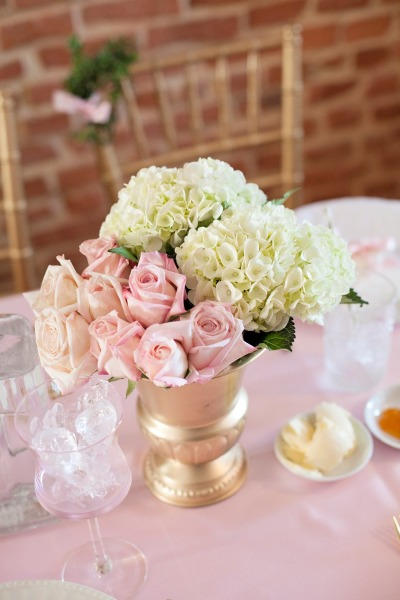 French inspired Sprinkle Baby Shower pretty pink and ivory flower arrangements for the table as centerpieces