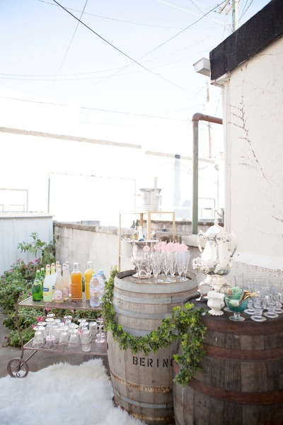 french inspired baby shower drinking bar