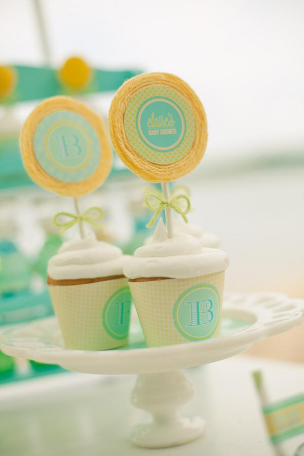 Beach Gender Neutral Baby Shower ideas - Boys Girls Gender Reveal yarn lollipop cupcakes