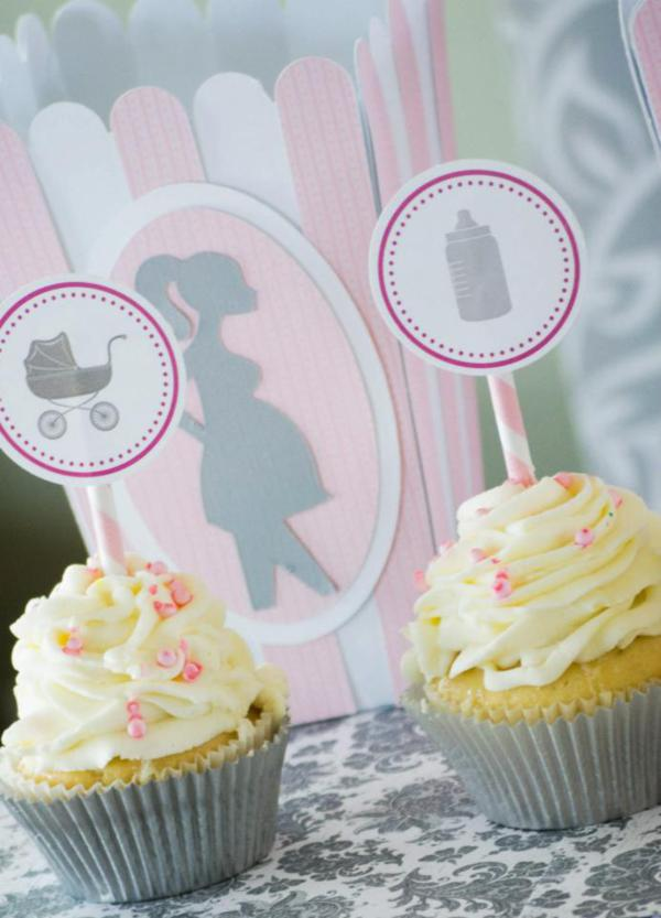 carriage and milk bottle cupcake toppers