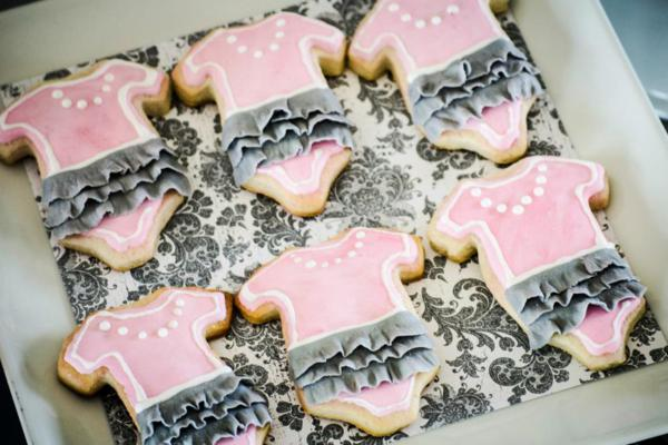 gray tutu pink sugar cookies with white pearls