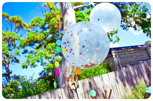 large colorful confetti balloons