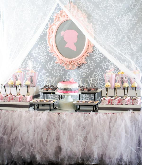vintage princess theme ideas for girls with tulle tutu table skirt
