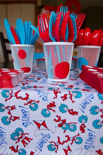 Dr seuss inspired cat in the hat party ideas via babyshowerideas4u cutlery