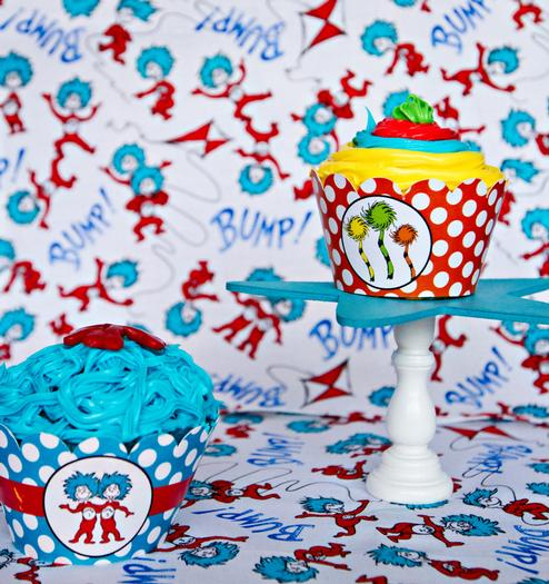 Dr seuss inspired cat in the hat party ideas via babyshowerideas4u tablecloth