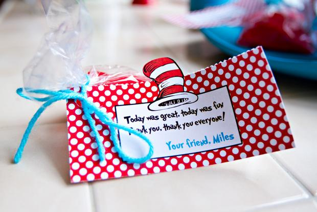 Dr seuss inspired cat in the hat party ideas via babyshowerideas4u thank you
