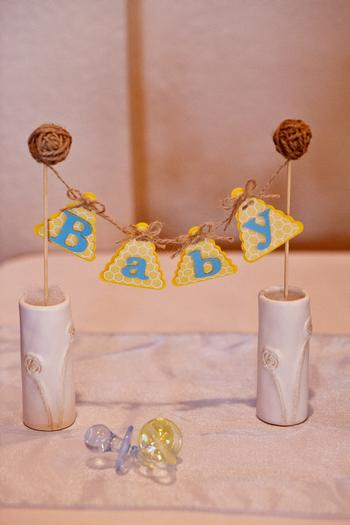 Life Begins with the Birds and the Bees Baby Shower via babyshowerideas4u baby mini banner with pacifier decorations