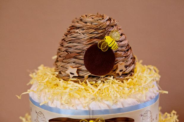 Life Begins with the Birds and the Bees Baby Shower via babyshowerideas4u baby shower diaper cake