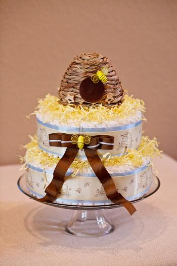 Life Begins with the Birds and the Bees Baby Shower via babyshowerideas4u bee themed diaper cake with beehive