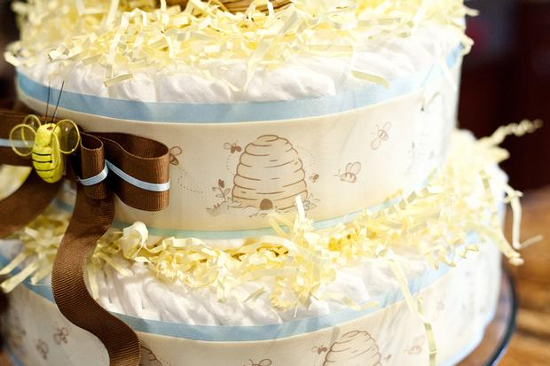 Life Begins with the Birds and the Bees Baby Shower via babyshowerideas4u beehive diaper cake