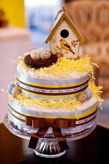 Life Begins with the Birds and the Bees Baby Shower via babyshowerideas4u bird diaper cake