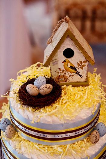 Life Begins with the Birds and the Bees Baby Shower via babyshowerideas4u nesting bird diaper cake