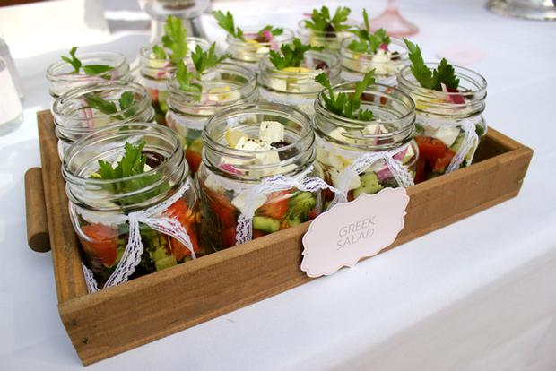 baby naming baby shower party pink and white for baby girl by keren via babyshowerideas4u.com buffet table greek salad in mason jars