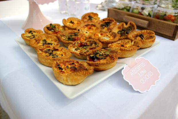 baby naming baby shower party pink and white for baby girl by keren via babyshowerideas4u.com buffet table mini qUICHES