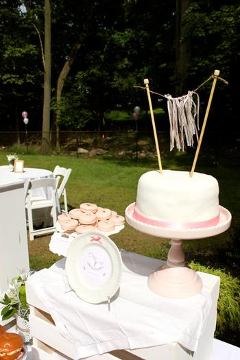 baby naming baby shower party pink and white for baby girl by keren via babyshowerideas4u.com cake