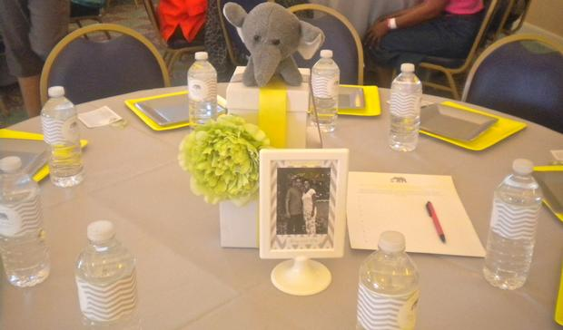 bundle of joy baby shower theme via babyshowerideas4u.com grey and yellow colors table setting