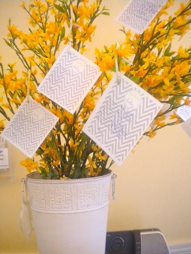 bundle of joy baby shower theme via babyshowerideas4u.com grey and yellow colors wish tree