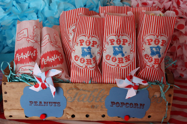 carnival party ideas via babyshowerideas4u - baby shower ideas and shops peanuts and popcorn red striped paper bags