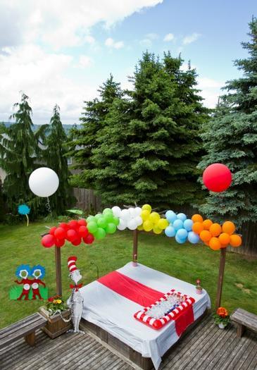 Multi colored balloon arch