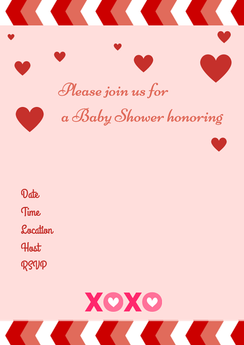 Free Valentine's Day Printable baby shower invitations