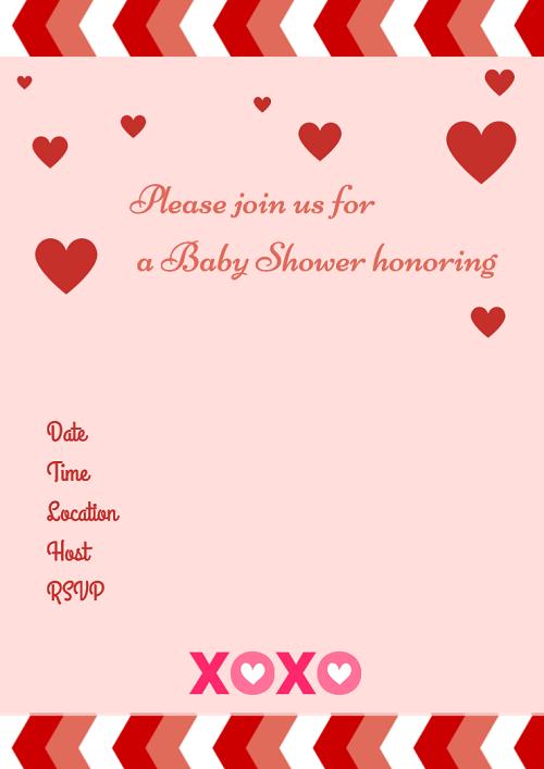Free Valentine's Day Printable baby shower invitations