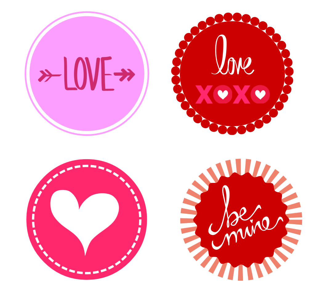 Free Valentine's Day Printable baby shower cupcake toppers stickers