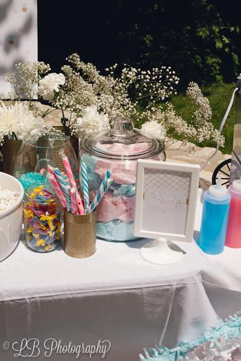 Pink and Blue Gender Reveal Baby Shower Party via babyshowerideas4u.com table