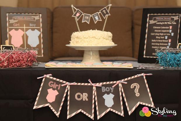 gender reveal party baby shower a boy or a girl via babyshowerideas4u pink blue dessert table