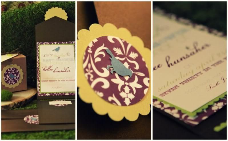 Birdie Theme Baby Shower Invitations
