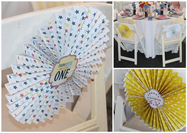 rustic, classic, modern country fair inspired baby shower party via babyshowerideas4u.com paper flower on chairs
