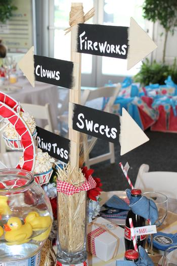 rustic, classic, modern country fair inspired baby shower party via babyshowerideas4u.com  classic signages