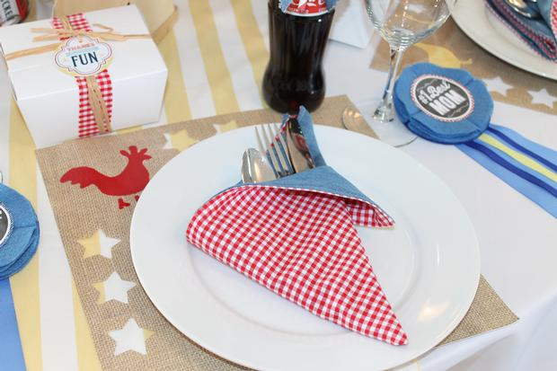 rustic, classic, modern country fair inspired baby shower party via babyshowerideas4u.com  table setting red gingham napkin, burlap print table mat