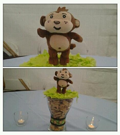 Safari Themed Surprise Baby Shower Monkey toy centerpiece