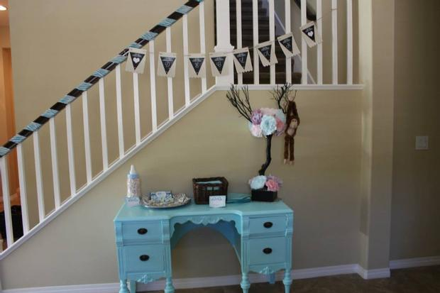 Safari Themed Surprise Baby Shower vintage blue table