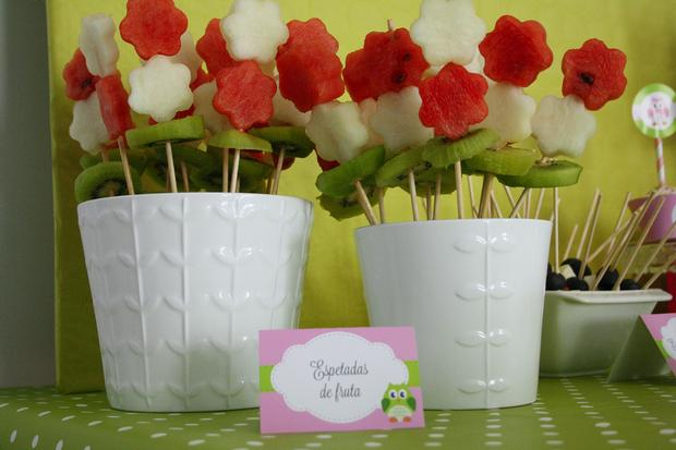 pink and green owl baby shower food table fruit skewers
