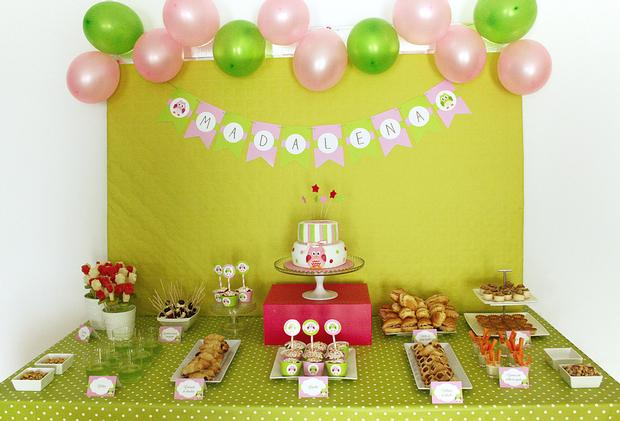 pink and green owl baby shower food table