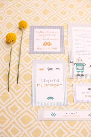 space invader baby shower ideas inspired by robot and space themed baby nursery via babyshowerideas4u baby shower objective, liquid hydrogen, comet particles snacks
