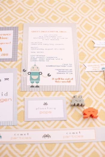 space invader baby shower ideas inspired by robot and space themed baby nursery via babyshowerideas4u planetary pops