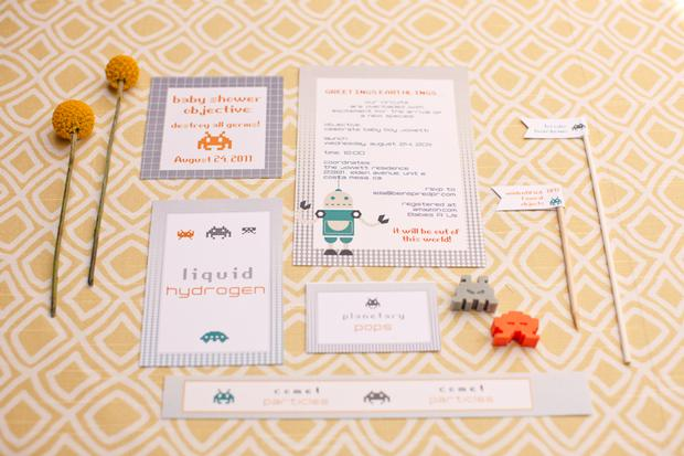space invader baby shower ideas inspired by robot and space themed baby nursery via babyshowerideas4u table setting