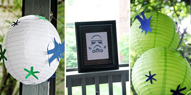 star wars baby shower, baby sprinkle ideas via babyshowerideas4u paper lanterns with star wars paper silhouette