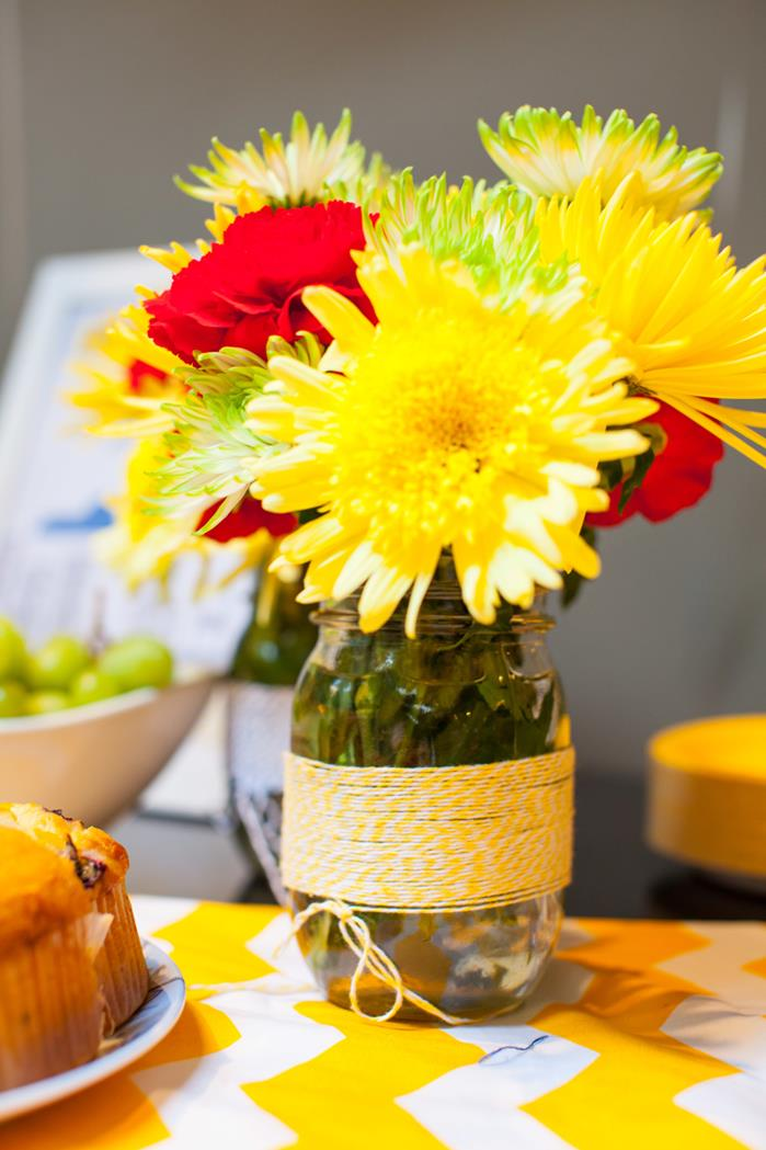 yellow and red flower arrangement