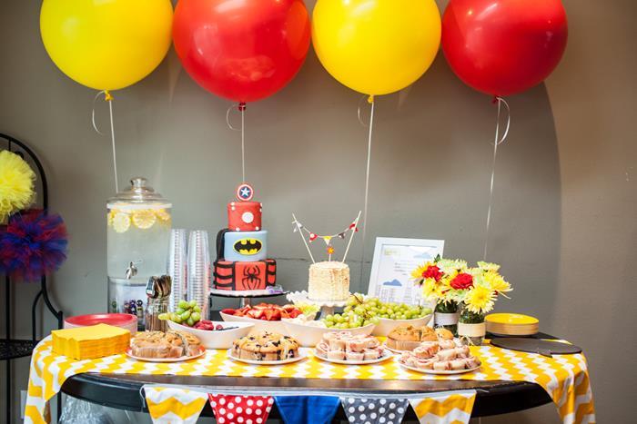 Superhero baby shower theme ideas for boys, girls, gender neutral, gender reveal - Birthday party ideas