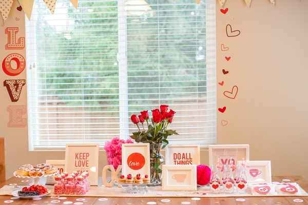 red roses valentine baby shower food table setup