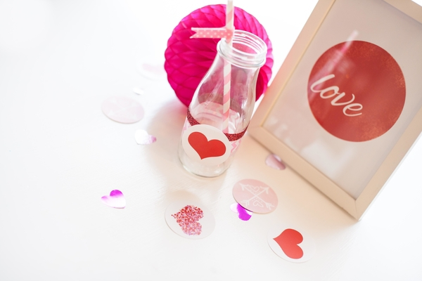 heart and red glitter water bottle labels