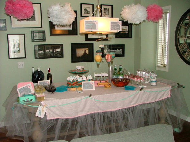 vintage travel themed baby shower - flight and cargo via babyshowerideas4u dessert table