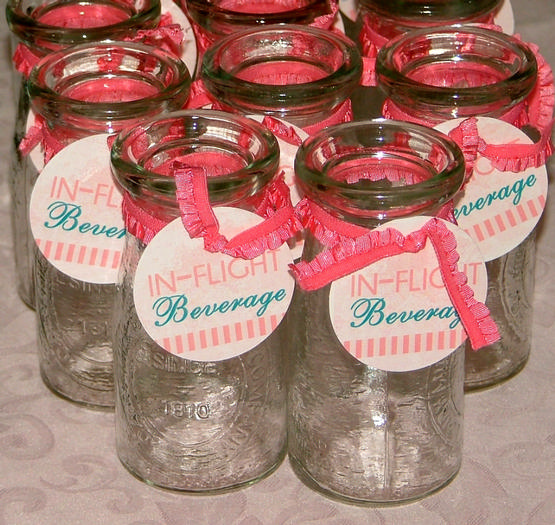 vintage travel themed baby shower - flight and cargo via babyshowerideas4u inflight beverages